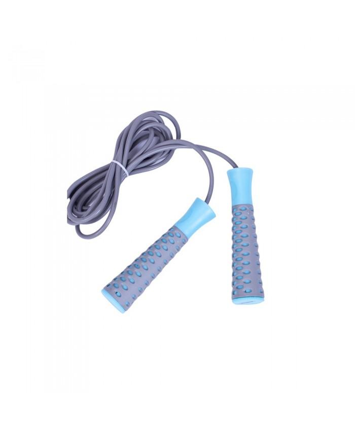 Скакалка  LiveUP  PVC JUMPROPE  серый-голубой LS3143-g