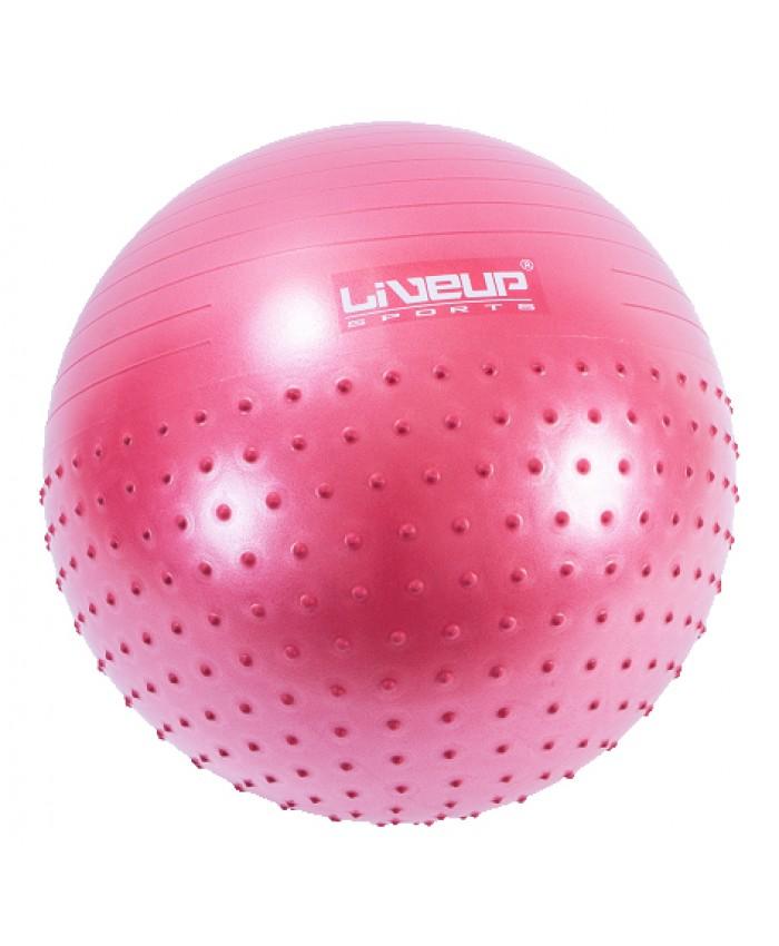 фітбол масажний з насосом LiveUp HALF MASSAGE BALL малиновий LS3569